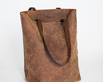 Leather Hand Stitched Handmade Tall Designer s Bison Tote Bag Handbag Purse  Laptop Case