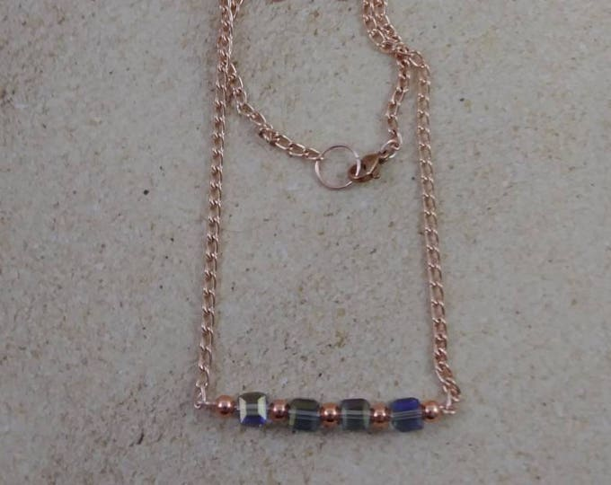 Rose gold bar necklace and earring set