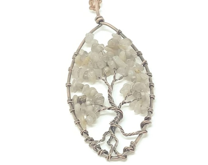 Labradorite tree of life pendant necklace