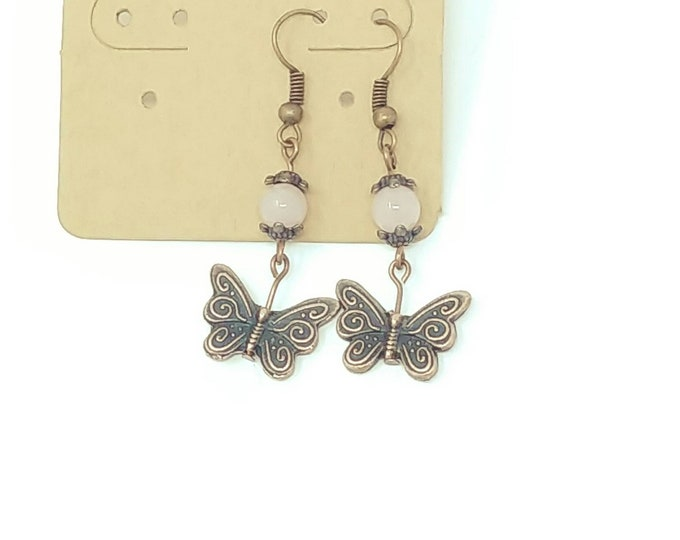 Rose Quartz Butterfly Earrings