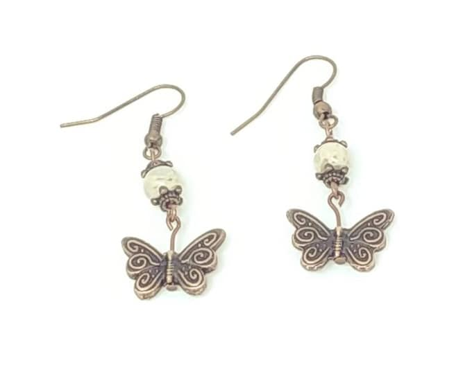 Sea Jasper butterfly earrings