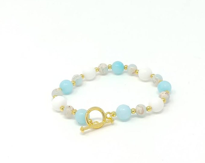 Blue jade, sea jasper and fresh water shell bracelet