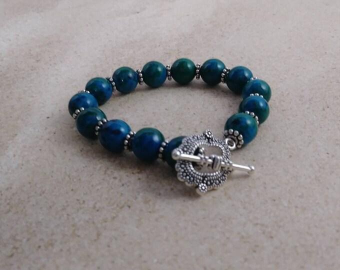 Chrysocolla beaded bracelet , Greenish Chrysocolla beaded, stretchy bracelet, gemstone bracelet, womens bracelet, gift for her