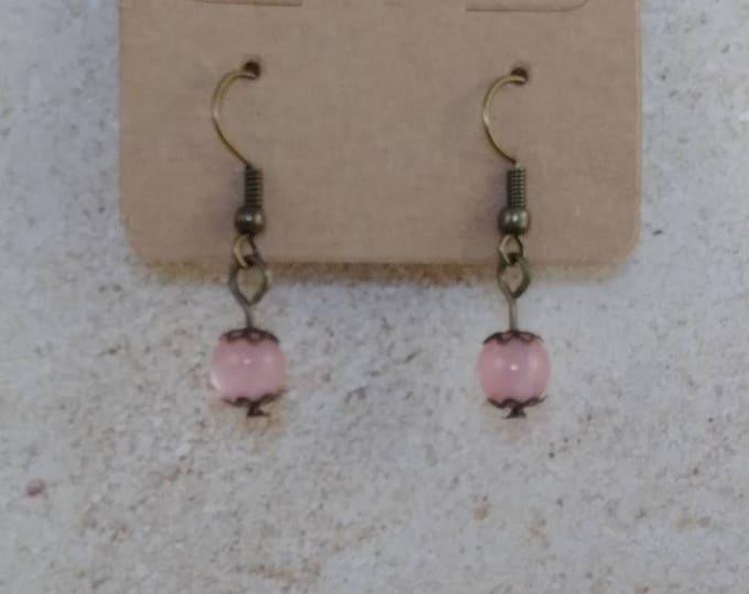 Pink earrings,dangle earrings, drop earring, gemstone earring, crystal power, crystal earrings, crystal jewelry,fift for her