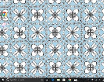Floral Sketch Pattern, Blue and White Background, Digital Wallpaper, Flower Design, Flower Power, Periwinkle Wallpaper