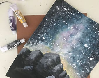 Night Sky Watercolor Painting, Digital Print, Outer Space View, Mountain Silhouette, Digital Download