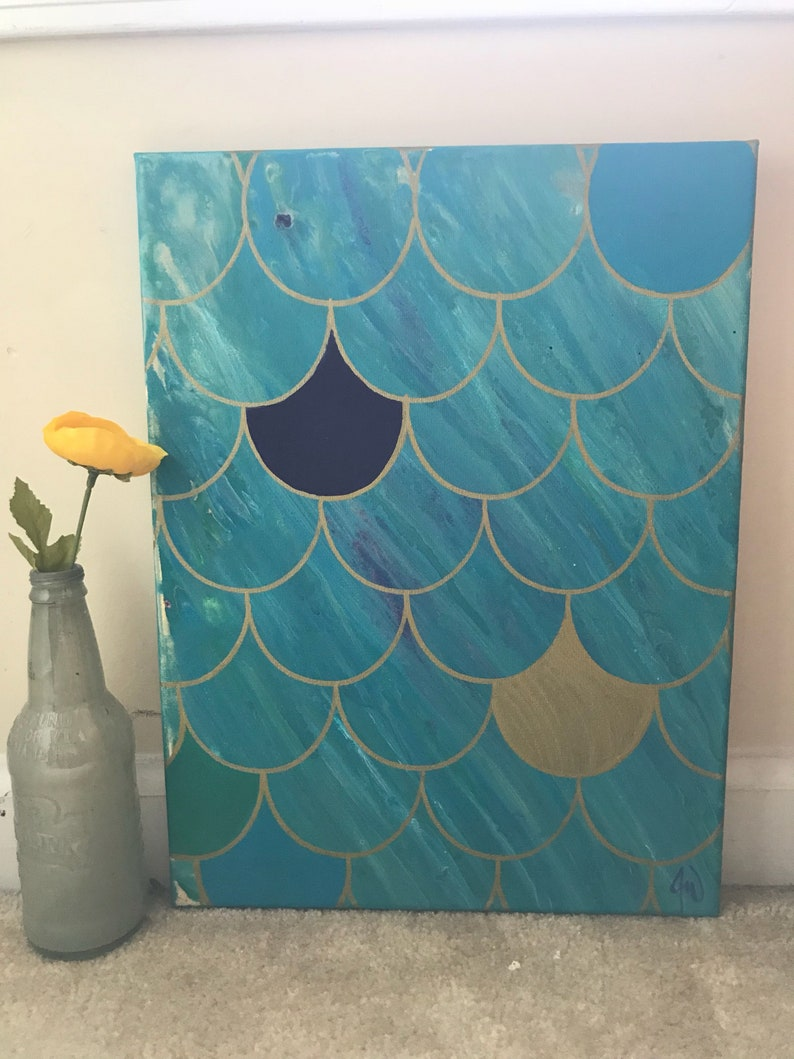 Mermaid Scale Canvas Painting, fish scales, teal and gold, girls room  decor, dragon scales, shimmery scale, fluid pour acrylic, gift for her