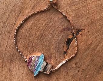 Hamsa plated bracelet, good luck, mano de la buena suerte, birthday gift, buena suerte, chapa de oro