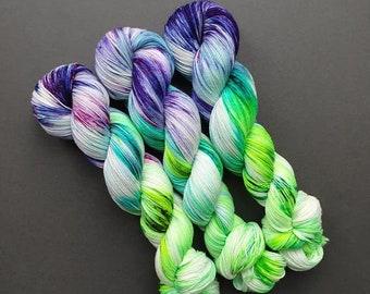 WISTERIA on the Fabulous Sock Base - Hand dyed yarn - 100g skein - Superwash Wool, merino nylon sock yarn fingering weight 4-ply Floral GIFT