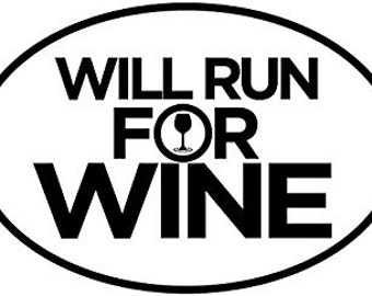 Will Run For Wine Oval Car Magnet