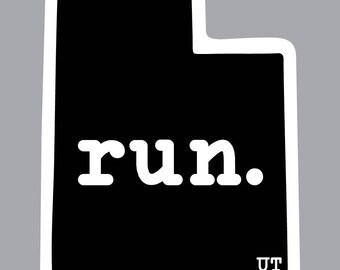 run. - Utah State Decal (Black)