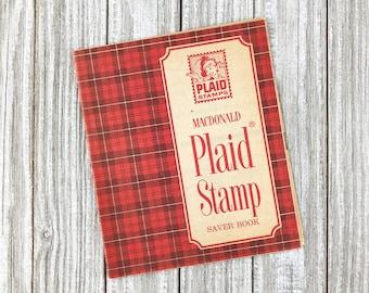 Vintage 1968 Blank Plaid Stamp Booklet