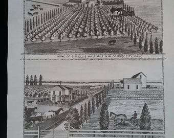 Home of G. D. Ellis and Home of George Davis. 1884 Lithograph