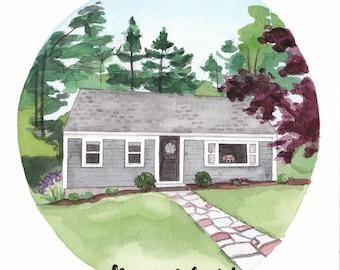 Custom House Watercolor Portrait w/ Pet