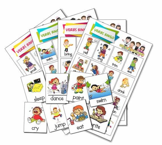 Loteria Verbos Acciones En Ingles Para Imprimir Printable Etsy