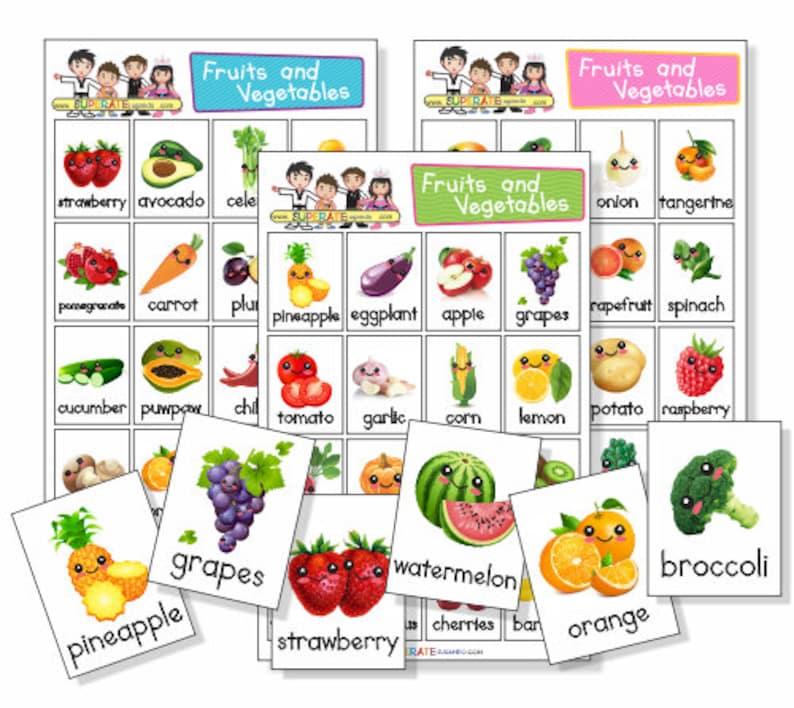 Lotería Frutas Y Verduras En Ingles Para Imprimir Printable Fruits And Vegetables Bingo
