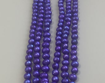 """60"""" 6-8mm Purple Freshwater Pearl Strand Necklace Cultured"""