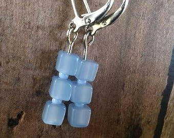 Sky Blue Glass Cube earrings {#105}