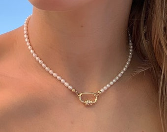 Dainty Pearl Carabiner Necklace, 14k Gold Filled, Y2K Pearl Choker, Stacking Necklace - Gift for Her - Sustainable Jewelry