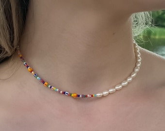 Half Pearls Half Colourful Beads, High Quality, Colourful Trendy Necklace, Rainbow Pearl Necklace, Trendy Fun Jewelry, Sustainable Jewelry