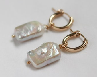 Gold-filled Baroque Pearl Hoop Earrings, Irregular Rectangle Pearls, High Quality Jewelry, Zero Waste Packaging
