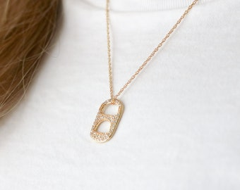 Pop Tab Necklace - Pave Trendy Necklace - Pave Hoop Necklace - Sustainable Jewelry