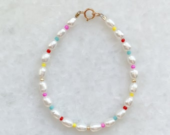 Summer Sunset Pearl Bracelet - Colourful Beaded Pearl Jewelry - 14k Gold filled - Sterling Silver - Sustainable Jewelry - Gift for her
