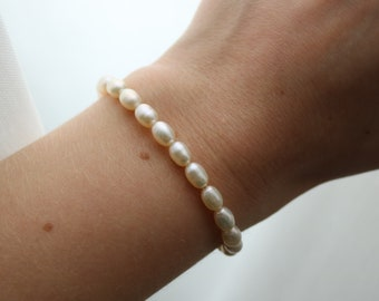 Real Pearl Beaded Bracelet, Freshwater Pearl Jewelry, Gift for Her, Sustainable Jewelry