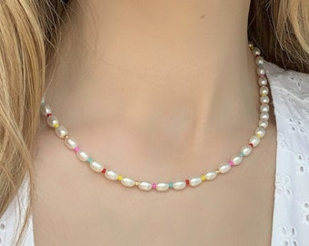 Summer Sunset Pearl Necklace - Colourful Beaded Pearl Jewelry - 14k Gold filled - Sterling Silver - Sustainable Jewelry - Gift for her