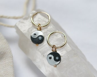 Gold-filled Yin Yang Hoop Earrings, Mother of Pearl Hoops, High Quality Jewelry, Zero Waste Packaging