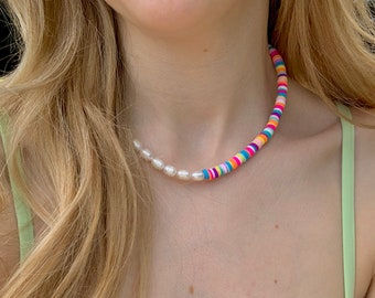 Bold Half Pearl Beaded Necklace - Colourful Heishi Beads - Boho beaded necklace - Trendy Necklace - Beaded necklace - Sustainable Jewelry