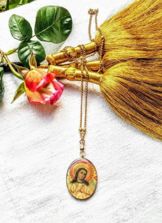 Vintage handpainted Jesus pendant necklace .