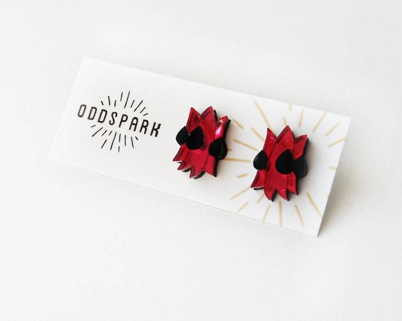 Sturt's Desert Pea Stud Earrings in Red Mirror and Black image 0