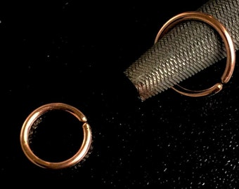 Comfortable 18g rose gold cartilage hoop earring, 10mm 8mm septum nose ring, 6mm tragus helix hoop, Seamless sleeper hoops