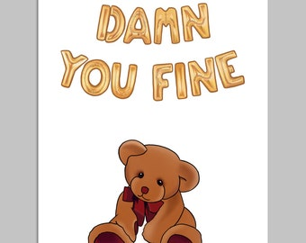 DAMN YOU FINE - Funny Valentines Card, Anniversary Card, Valentines Day Card, Card for Boyfriend, Card for Girlfriend, Card for Him