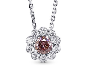 67c359623 0.45Cts Pink Diamond Halo Pendant Necklace Argyle Set in 18K White Gold GIA
