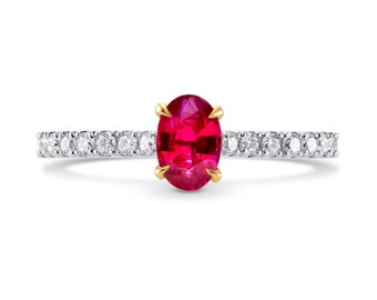 Oval Red Ruby & Diamond Ring,oval Red Ruby, set in a diamond solitaire ring,  mounted in 18K white and yellow gold,FREE SHIPPING, SKU:225507