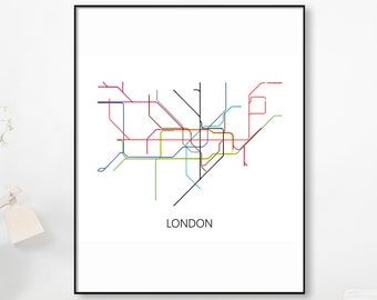 Real Gold Foil Printtransit Lines Subway Map London Metro Etsy