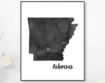 Watercolor Map, Arkansas Map, State Watercolor, Painting Poster, Print USA, Art Black White Grey, United States, Modern Abstract, Printable