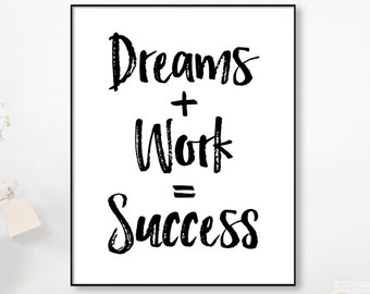 Life Quote,Dreams Work Success, Quote Print, Watercolor, Workspace Office Decor,Printable Art, Inspirational Motivational Poster Wall Art