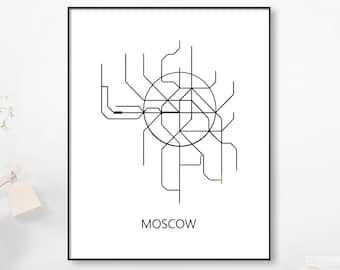 Black White Subway Map.Gold Foil Metro Mapmoscow Subwaymap Print Moscow Metro Map Etsy