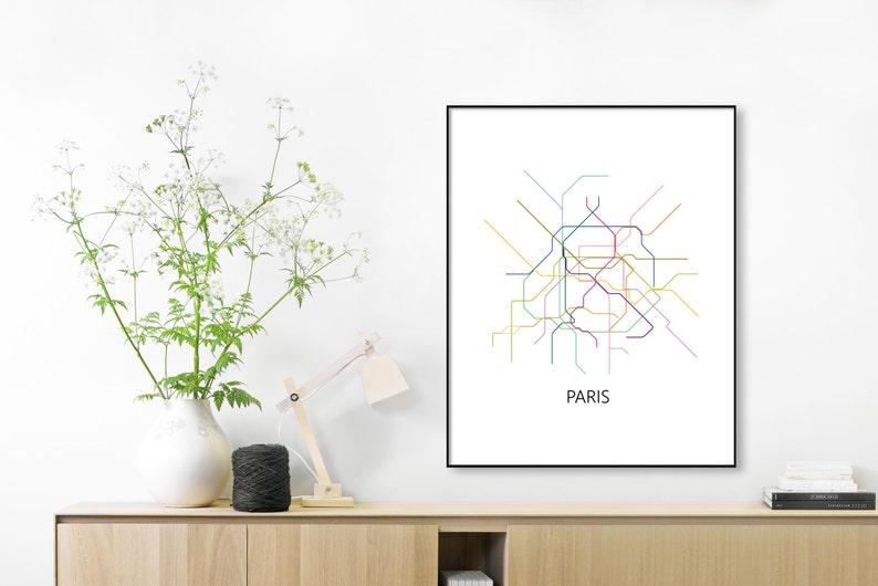 Paris Metro Map Printable.Paris Subway Map Print Paris Metro Map Posterparis Etsy