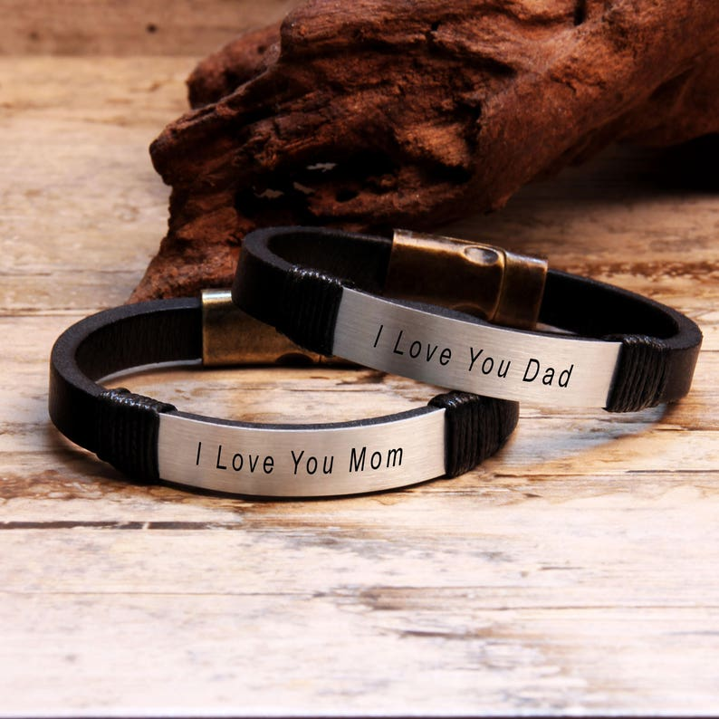 626580a07c510 Couples Leather Bracelets, Personalized Bracelet, Dad Mom Bracelet, Mens  Womens Bracelet, His and Her Bracelet, Anniversary Gifts, Gift Idea