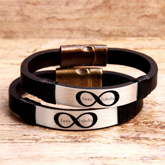 e1ef7330e6657 Couples Bracelets, Personalized Leather Bracelet, Name Bracelet, Mens  Womens Bracelet, His and Her Bracelet, Matching Bracelets, Gift Ideas