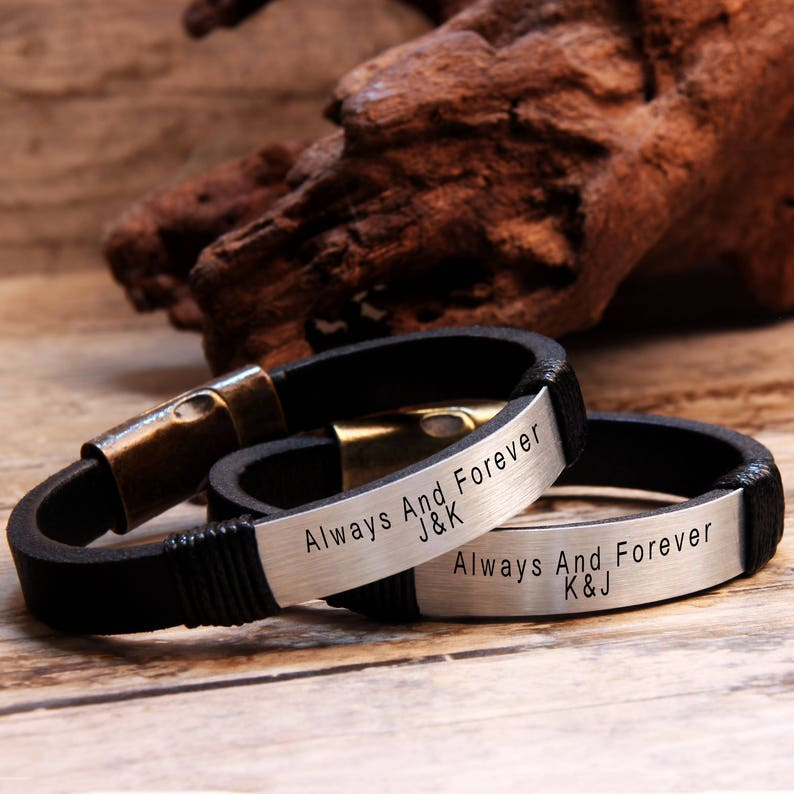 a2c2638533c16 Couples Bracelets, Personalized Bracelet, Custom Leather Bracelet, Promise  Jewelry, Men Womens Bracelet, His and Her Bracelet, Matching Gift