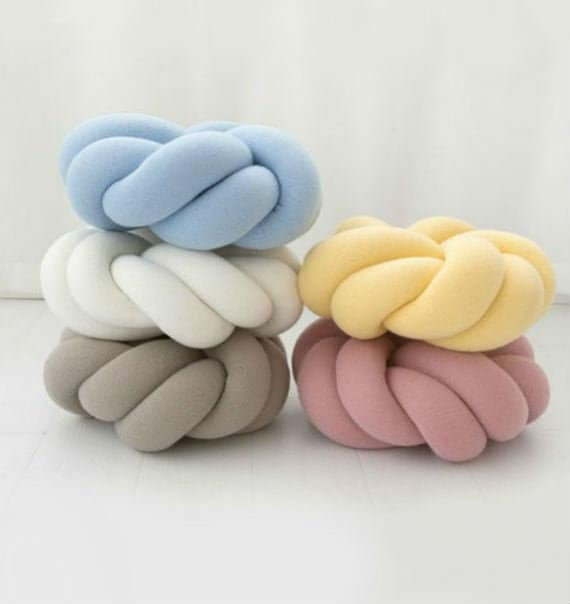 Pink Knot Floor Cushions Handemade Ins Knot Pillow Baby Room Decoration Teal Large Knot Cushion 15.740 cm Gray