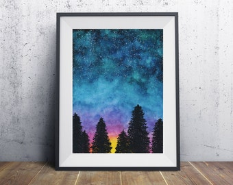 Galaxy Sunrise Watercolor Print | art, space, forest landscape paint painting home decor wall art housewarming sunset, stars, trees, 5x7, 8x