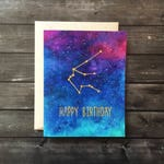 Zodiac Galaxy Birthday Card | Constellations horoscope astrology gift space celestial stars sky