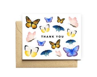 Thank You Card butterflies nanny teacher friend coworker cousin babysitter pet sitter dog sitter gift stationery pretty cute sweet simple