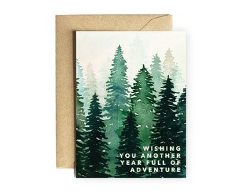 """Forest Birthday Card """"Wishing You Another Year Full of Adventure """" cute birthday friend boy for him nature wilderness hiking mountains"""